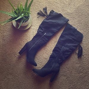 Shoes - Faux Suede Over-the-Knee Boot